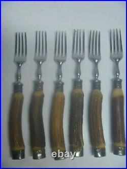 12 Pc Vintage Deer Antler Stag Handle Stainless Steak Knives and Forks