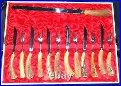 18 Pc Solingen Forest Scene Germany Antler Horn Carved Handle Cutlery Knife Set
