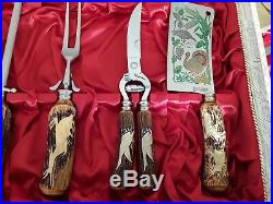 1960 Antique German Stainless&Carved Stag Handles Cutlery And Meat Carving Set