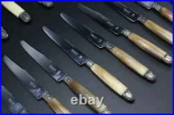 24-Piece A. Gautier A Nevers French Horn Handled Knife Set FRANCE
