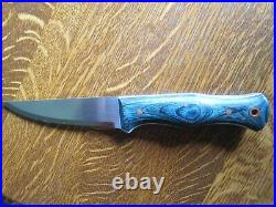 AA Forge Camper-In Handmade Knife With Blue Dymalux Handle BRAND NEW