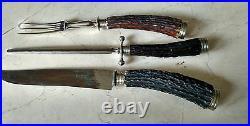 ANTIQUE 10 PIECE German/ G. G. Leykauf, Nurnberg Stag Horn CUTLERY SET c. 1900