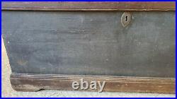 Antique 19th C Sea Chest Original Old Green Blue Paint & Sailor Becket Handles