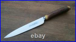 Antique BROOKSBANK Sheffield Carbon Steel Smaller Chef Knife withStag RAZOR KEEN