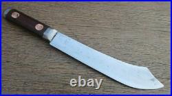 Antique Custom Italian Chef's Bolstered Carbon Steel Butcher Knife RAZOR SHARP