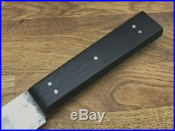 Antique Ebony Sheffield Harrison Howson Butcher Knife Forged Carbon Steel Vtg