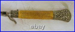 Antique Harrison Bros. & Howson ANTLER HANDLE Carving Fork Sterling
