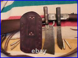 Antique Rare Set Meriden Cutlery Company Cleaver/Butcher Knife Double Leather