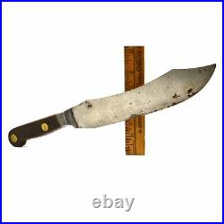 Antique UNMARKED CHEF'S KNIFE 12 Carbon Steel PEWTER BOLSTERED SABATIER Unusual