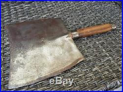 Antique Very Rare Huge & Heavy Double Edged Forged Cleaver /Butcher Vintage 1890