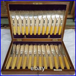 Antique Walker & Hall Cutlery Set Bone Fish Knives and Forks (24) Sheffield