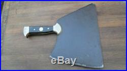 BEAUTIFUL and HEAVY-DUTY Antique French Chef/Butcher's Carbon Steel Meat Cleaver
