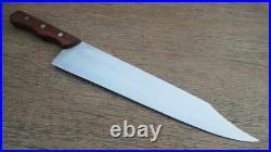 BIG Vintage HERTER's Waseca MINN Clipped Pt. Carbon Steel Chef Knife RAZOR SHARP