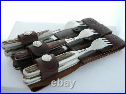 Boker Stag Horn Handle Knife And Fork Set in Leather Sheath 3