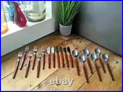 Boxed MCM 60s 18 Piece Modernist Teak Handle Holland Stainless Steel Cutlery Set