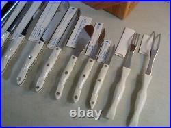 CUTCO Pearl White Homemaker 10 PC Knife Set + Oak Block + Sleeves/Manual VGUC