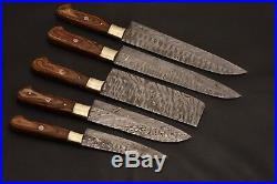Chef Knives Set Handmade With Leather Roll Free Kitchen Knife Forged Damascus
