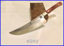 Chef's Knife, Japanese Style Hand-Forged Blade, Amber Bone Handle, Made to Order