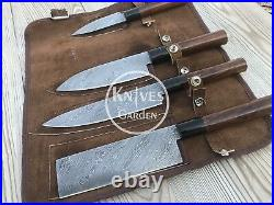 Custom Handmade Damascus Professional kitchen Chef knives set 4 Pieces Rosewood