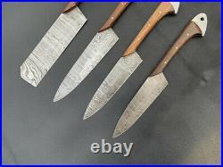 Custom Handmade Damascus Steel Chef Knife Set (Kitchen Knife) With Sheath