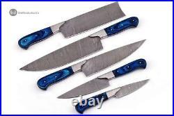 Custom Made Damascus Steel 5 pcs Professional Kitchen Chef Knife Set