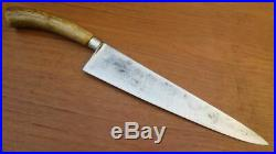 FINE Antique Charles/Busch Sabatier Nogent-style Carbon Steel Chef Knife withStag