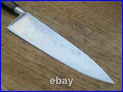 FINE Antique Pre-Sabatier Carbon Steel Chef Knife withWIDE 8 Blade RAZOR SHARP