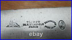 FINE Antique TICHET Hand-Forged Carbon Steel XL Chef Knife RAZOR SHARP withEbony