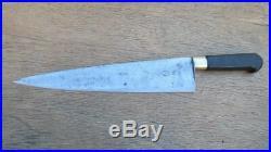 FINE Antique TICHET Hand-Forged Carbon Steel XXL Nogent Chef Knife RAZOR KEEN