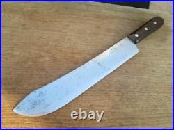 FINEST Antique DEXTER Chef's EXTRA-WIDE Carbon Steel Butcher Knife RAZOR SHARP