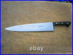 FINEST Vintage WUSTHOF Carbon Steel XXL Chef Knife withEbony Handles RAZOR SHARP