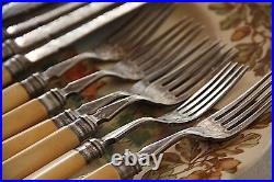 Faux bone handle antique knives and forks silver plate 12 piece Victorian set