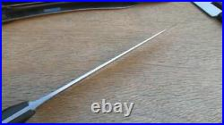 Finest XL Vintage SEELBACH Germany Carbon Steel Chef Knife withEbony RAZOR SHARP
