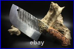 Forged Traditional Chinese Style Cleaver Knife Blade Steel Chef Chop Meat Slice