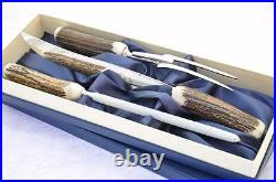 Genuine Stag/Antler Handle 3 Piece Carving Set Boxed Made In Sheffield England