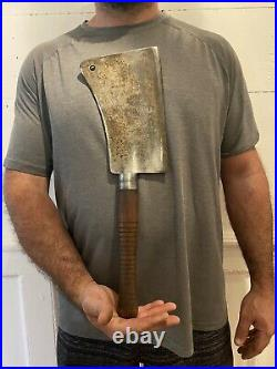 HUGE 1800s WM BEATTY & SON CHESTER ANTIQUE BUTCHER MEAT CLEAVER MARKED #3 4LB