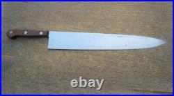 HUGE Antique Kabar Ka-Bar Carbon Steel Chef Knife withRosewood RAZOR SHARP