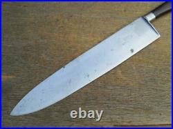HUGE and WIDE Antique LF&C USA Carbon Steel French Nogent Chef Knife RAZOR SHARP