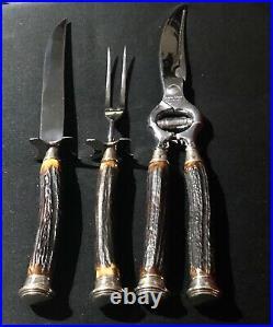 John Hasselbring Antler @ Sterling Silver Cutlery 3 Piece Carving Set Vintage