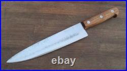 Lg. Vintage AUSONIA Italian Chef's Hand-forged Carbon Steel Knife RAZOR SHARP