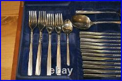 Mid-Century Viners Flower Love Story Design Canteen of Cutlery 46 Pieces