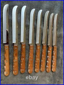 NOS Vintage Case XX CAP 254 Concave Ground Steak Knife Set of 8 Stainless USA