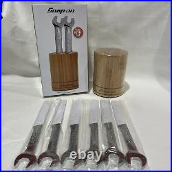 New Snap-on Tools Open End Wrench Inspired Stainless Steel Serrated Knife Set