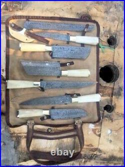 Professional Damascus Steel Kitchen set 7 pieces with brass &camel bone Handle