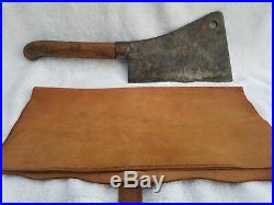 RARE McArthur Wirth & Co. Meat Cleaver 16 Antique Butcher Knife Tool & Sheath