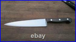 RAZOR KEEN Vintage German Carbon Steel Chef Knife withEbony Handles, A+ Condition