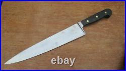 RAZOR SHARP Vintage Hoffritz/Wusthof XL Carbon Steel Chef Knife withEbony