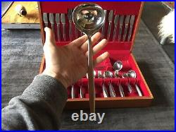 Rare Vintage 1960s Mid Century Prinz Solingen Teak Canteen of S/S Cutlery for 8