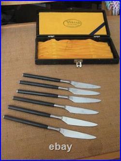 SUPERB Vintage Mid-Century Modernist VIKING Japan Fully Forged 6 Steak Knife Set
