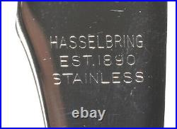 Set 12 HasselBring Steak Knives Sterling Silver Knife Cap Antler Handles with Box